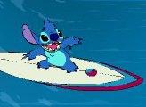 Лило и Стич изучают серфинг