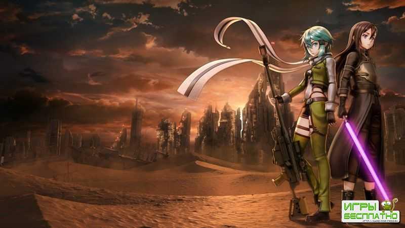 Сражение с боссом в японской ролевой игре Sword Art Online: Fatal Bullet