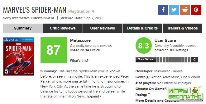 Spider-Man для PlayStation 4 - самая высокооцененная консольная игра про Че ...