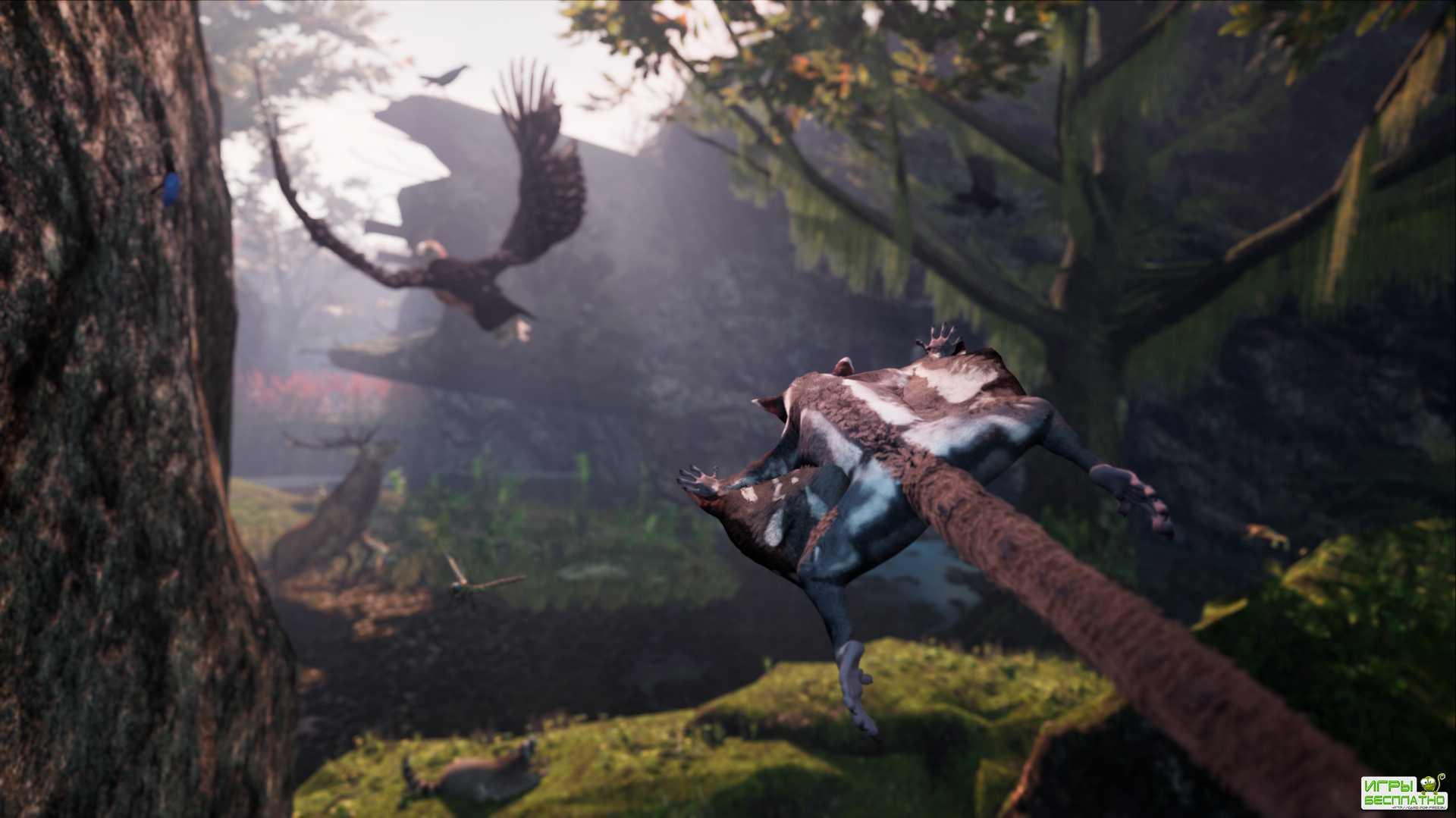 Приключения сахарной сумчатой летяги в геймплее AWAY: The Survival Series